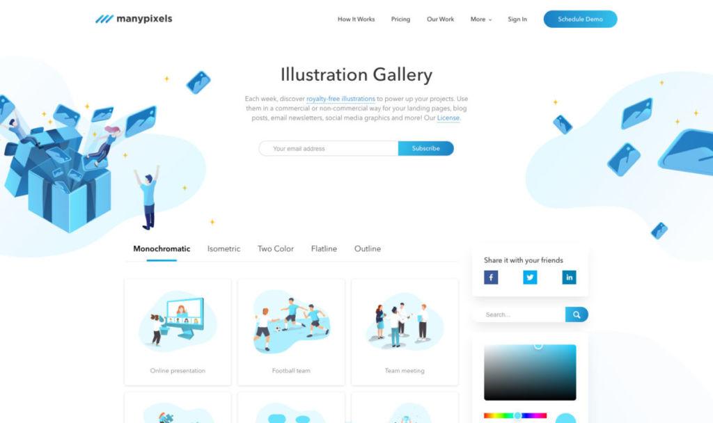 Illustration Gallery by ManyPixels - 【無料】2021年!お洒落で使いやすいフリーイラストサイトまとめました!(商用利用可)