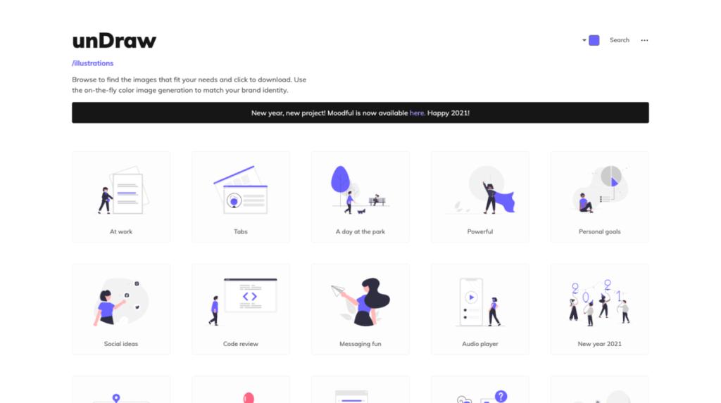 unDraw -【無料】2021年!お洒落で使いやすいフリーイラストサイトまとめました!(商用利用可)